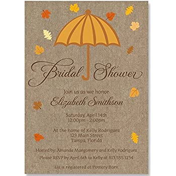 bridal shower invitations umbrella wedding autumn orange yellow falling leaves chocolate personalized set of 10 custom printed invites with