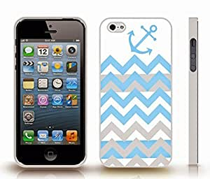iStar Cases? iPhone 5/5S Case with Chevron Sky Blue/ Grey Zig Zag Stripe Pattern W/ Anchor , Snap-on Cover, Hard Carrying Case (White)