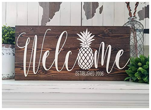 - Susie85Electra Pineapple Decor Pineapple Welcome Sign Established Date Sign Rustic Custom Wood Sign New Home Housewarming Gift Pineapple Entry Sign