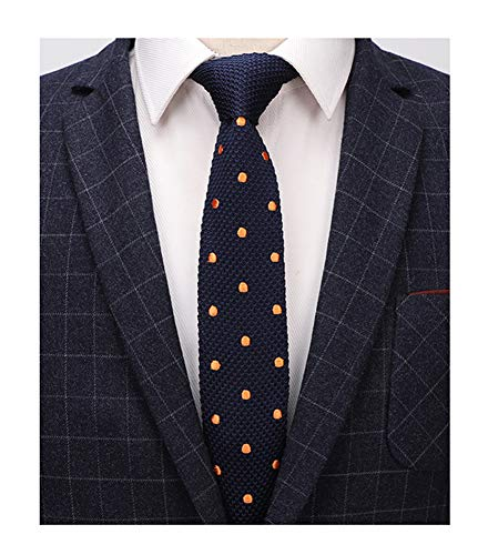 Mens Navy Blue Style Knit Neck Ties Orange Polka Dot Long Woven Smart Soft Winter Silk Neckwear