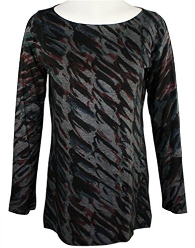Nally & Millie - Colored Swirls, Round Neck Top on a Long Sleeve (Round Swirl Top)