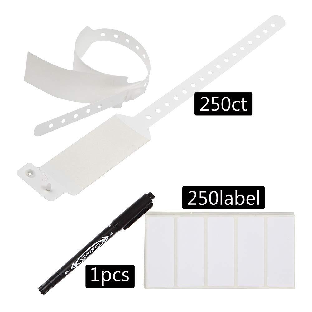Wristall Waterproof Plastic Shield Wristbands - Write on Adult Label Band (White, 250) by Wristall