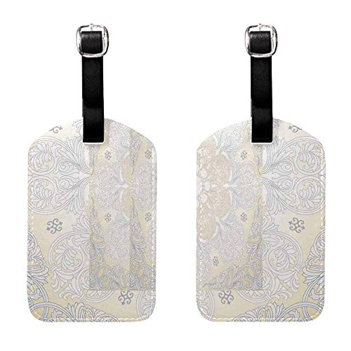Luggage Tags Holders Damask seamless with baroque ornaments. Victorian style background. Royal wallpaper. Getaway Luggage Tag