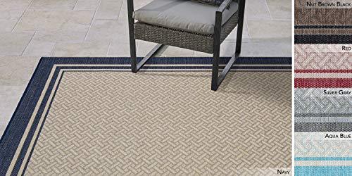 Garden and Outdoor Gertmenian 21768 Outdoor Rug Freedom Collection Bordered Theme Smart Care Deck Patio Carpet, 6×9 Medium, Border Navy… outdoor rugs