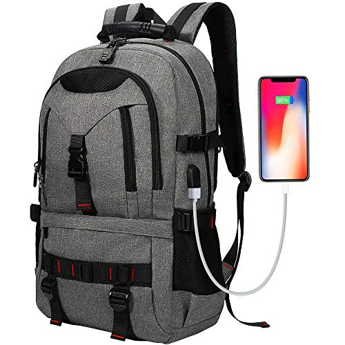 Laptop Anti-Theft Backpack,LIUSIYU with USB Contains Multi-Function Pockets/for Men Waterproof Functional Bag, for Laptop 17.3 Inch Travel Backpacks Male,Gray