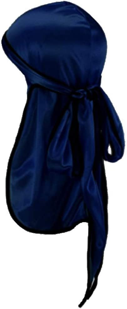 Navy, Free Unisex Silky Soft Cap Headwraps with Long Tail and 360 Waves Wide Straps for Men Women Headwraps Cap