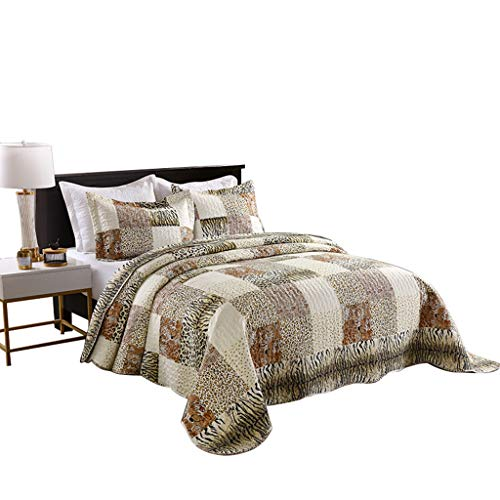 Bedding Set Print (MarCielo 3 Piece Quilted Bedspread Leopard Print Quilt Quilt Set Bedding Throw Blanket Coverlet Animal Print Bedspread Ensemble Cheetah (Queen))