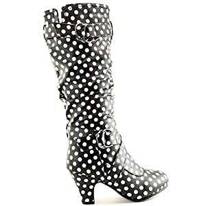 "Dailyshoes Women's Slouchy Mid Calf Strappy Boots with Ankle and Top Straps - 2"" Heel Fashion Boots,10 B(M) US,Blk Wht Dot PU w/Side Pocket"