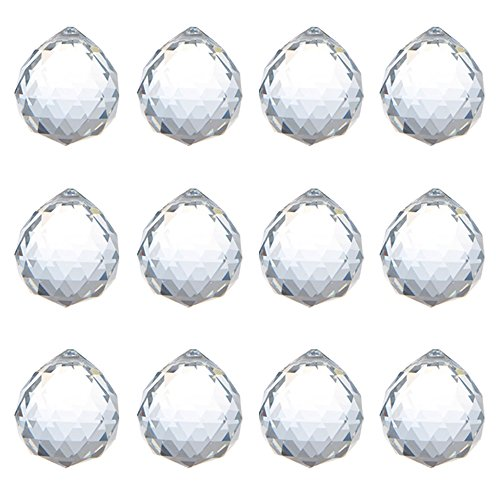 KARSLORA 40mm Clear Glass Crystal Ball Prism Rainbow Maker FengShui Lamp Hanging Drop Chandelier Pendant Window Suncatcher (Pack of 12)