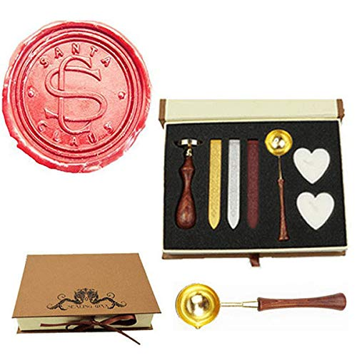 laus Monogram Wedding Wax Seal Stamp Melting Spoon Wax Stick Candle Christmas Gift Box kit Invitation Christmas Gift Wrap Custom Logo Text Design Sealing Wax Seal Stamp Set ()