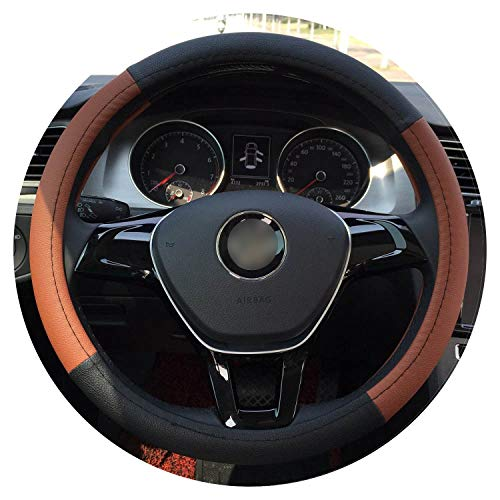 (Ablaze Jin Sport Car Steering Wheel Cover Pu Leather 38Cm White Red Brown Black,Brown 38Cm)