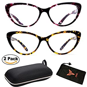(#CAT003-2pk3.25) 2 Pairs Leopard Animal Pattern Designer Large Frame Trendy Readers Reading Glasses + Hard Case + Arm Support + Neck Stringer