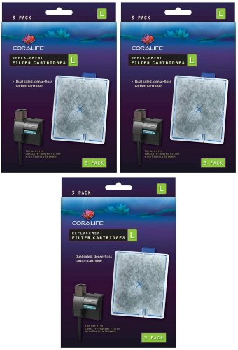 Coralife Replacement Filter Cartridges, Large, 9ct (3 x 3ct)