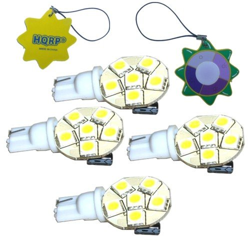 HQRP 4-Pack Side plug T10 Wedge Base 6 LEDs SMD LED Bulb Cool White for #194 #168 Cruiser RV Fun Finder Travel Trailer RV Interior / Ceiling Lights Replacement plus HQRP UV Meter by HQRP