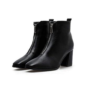 7Cm Tacón De Bota Martin Botín Botines Mujer Cuadrada Toe Cremallera Puro Color Zapatos De Vestir