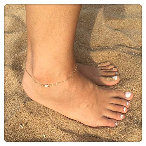 SEUSUK Anklet Bracelet for Women Gold Pearl Bead 14K Gold Fill Boho Beach Handmade Charm Dainty Chain Foot Jewelry Gift