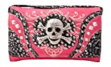 HW Collection Western Studded Rhinestone Skull Crossbody Wristlet Clutch Wallet (Hot Pink)