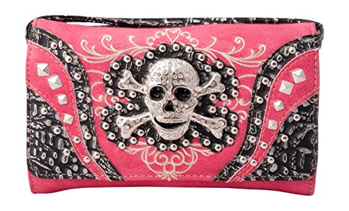 HW Collection Western Studded Rhinestone Skull Crossbody Wristlet Clutch Wallet (Hot Pink) (Pink Skull Coin Purse)