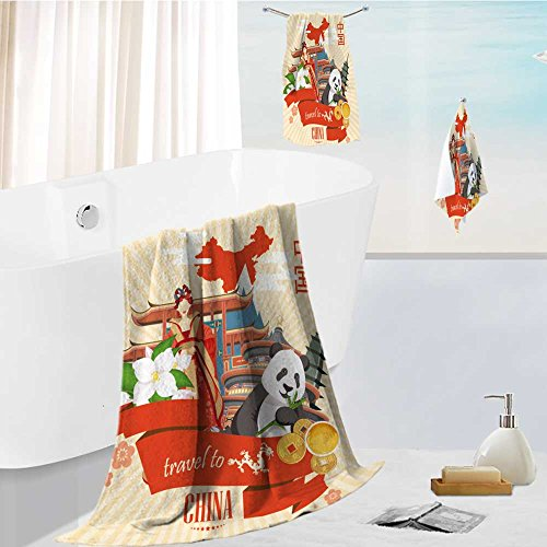 (aolankaili 3 Piece Luxury Bath Sheet Set-China Travel Vector Illustration Chinese Set with Architecture Food Costumes Traditional Made with 100% Turkish)