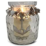 Whole House Worlds The Cape Cod Mariner's Anchor Wind Light, Nautical Candle Hurricane Holder, Wood, Shell, Twine Detail, Wavy New England Glass Jar, 6 inches, for LED and Wax Tealight Votives