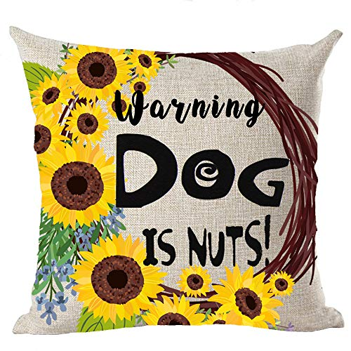 (Sunflower Warning Dog is Nuts Cotton Linen Throw Pillow Covers Cushion Cover Decorative Sofa Bedroom Living Room Square 18 Inches (16))