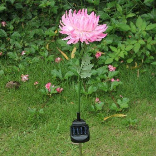Water & Wood Solar Powered LED Path Light Chrysanthemum Flower Outdoor Garden Yard Path Stake Lamp Waterproof