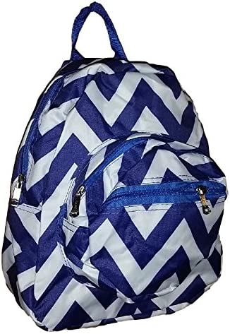 Mini Backpack Purse 11-inch, Zipper Front Pockets Teen Child (Blue White Chevron)