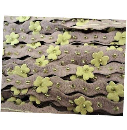Bead Nude Flower Faux Suede Floral, Sequin Trim with Beads 5yds Applique DIY Crafts