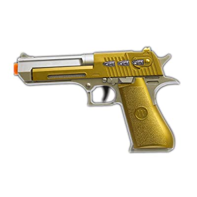 LED Red Laser Pistol Gold Plated Toy Gun by Blinkee: Toys & Games