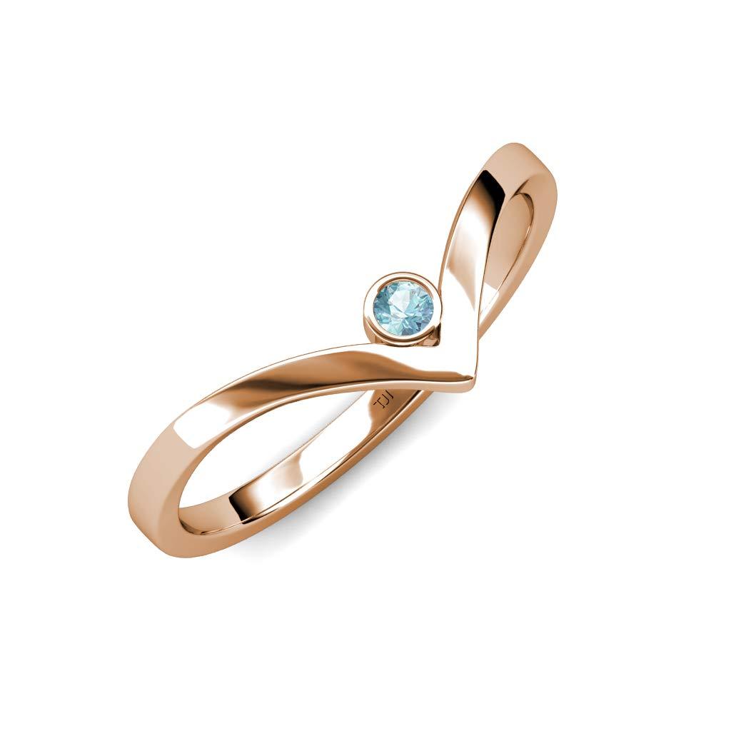 TriJewels Round Aquamarine Womens Solitaire Bezel Set Chevron Promise Ring 0.08 ct 14K Rose Gold.size 5.5