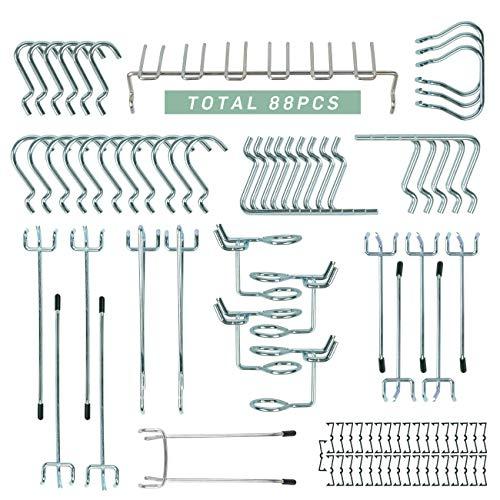 88 Pcs Pegboard Metal Hooks Assortment Peg Board Organization Anti Rust Shop Tools Display Garage Warehouse Factory Storage by KINWELL