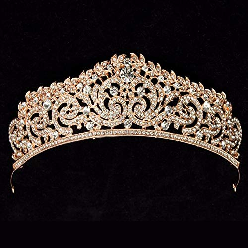 Gold Color Wedding Crown Queen Bridal Tiaras Leaf Bride Crystal Princess Crown Headb Wedding Hair Accessories Hair Jewelry styleB Gold