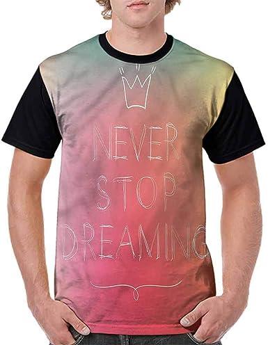 BlountDecor Cotton T-Shirt,Blurry Foggy Phrase Lettering Fashion Personality Customization