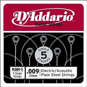 D'Addario PL009-5 - Juego de cuerdas para guitarra acústica de acero, 009-5