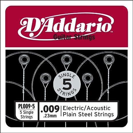 DAddario PL009-5 - Juego de cuerdas para guitarra acústica de acero,