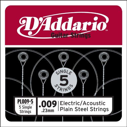 D'Addario PL009-5 Plain Steel Guitar Single String, .009, 5-pack