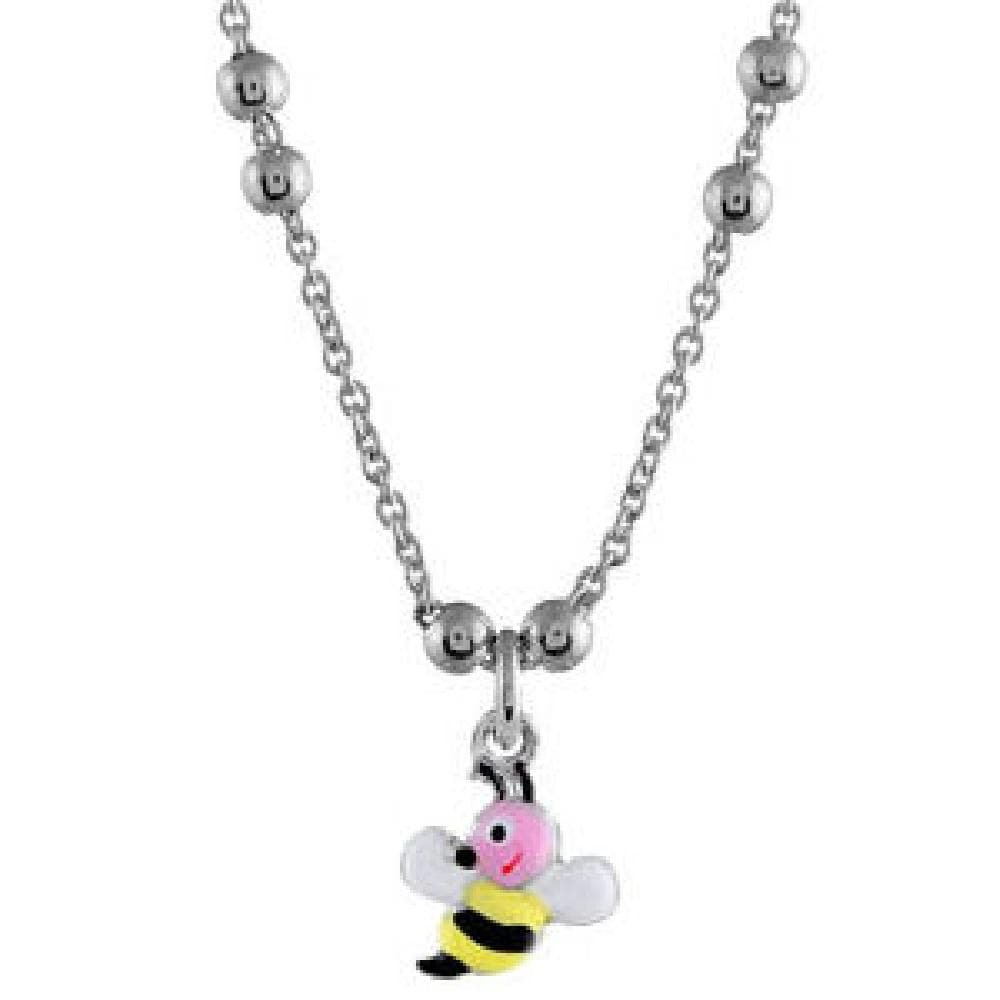 So Chic Jewels Child 925 Sterling Silver 37 3 cm Bumble Bee Drop Bead Chain Necklace