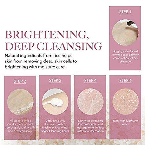 The Face Shop Rice Water Bright Cleansing Foam (150 mL/5.0 Oz) & Light Cleansing Oil (150 mL /5 Oz) Set, Moisturizing And Brightening Care For All Skin Types by THEFACESHOP (Image #2)