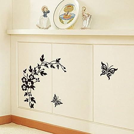 Guangcailun Schwarz smlie Muster PVC-Wand-Aufkleber WC Aufkleber Muster-Wand-Aufkleber Removable Removable Wohnzimmer Schlafzimmer Hauptdekoration