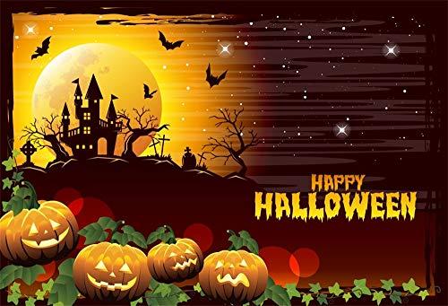 (OFILA Happy Halloween Backdrop 8x6.5ft Kids Halloween Party Photos Background Haunted Castle Halloween Eve Shoots Graveyard Full Moon Night Halloween Video Studio)