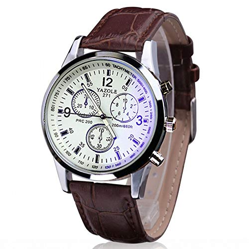 Onizun - Fashion Faux Leather Mens Analog Quarts Watches Blue Ray Men Wrist Watch Mens Watches Top Brand Luxury Casual Watch Clock [Brown White]