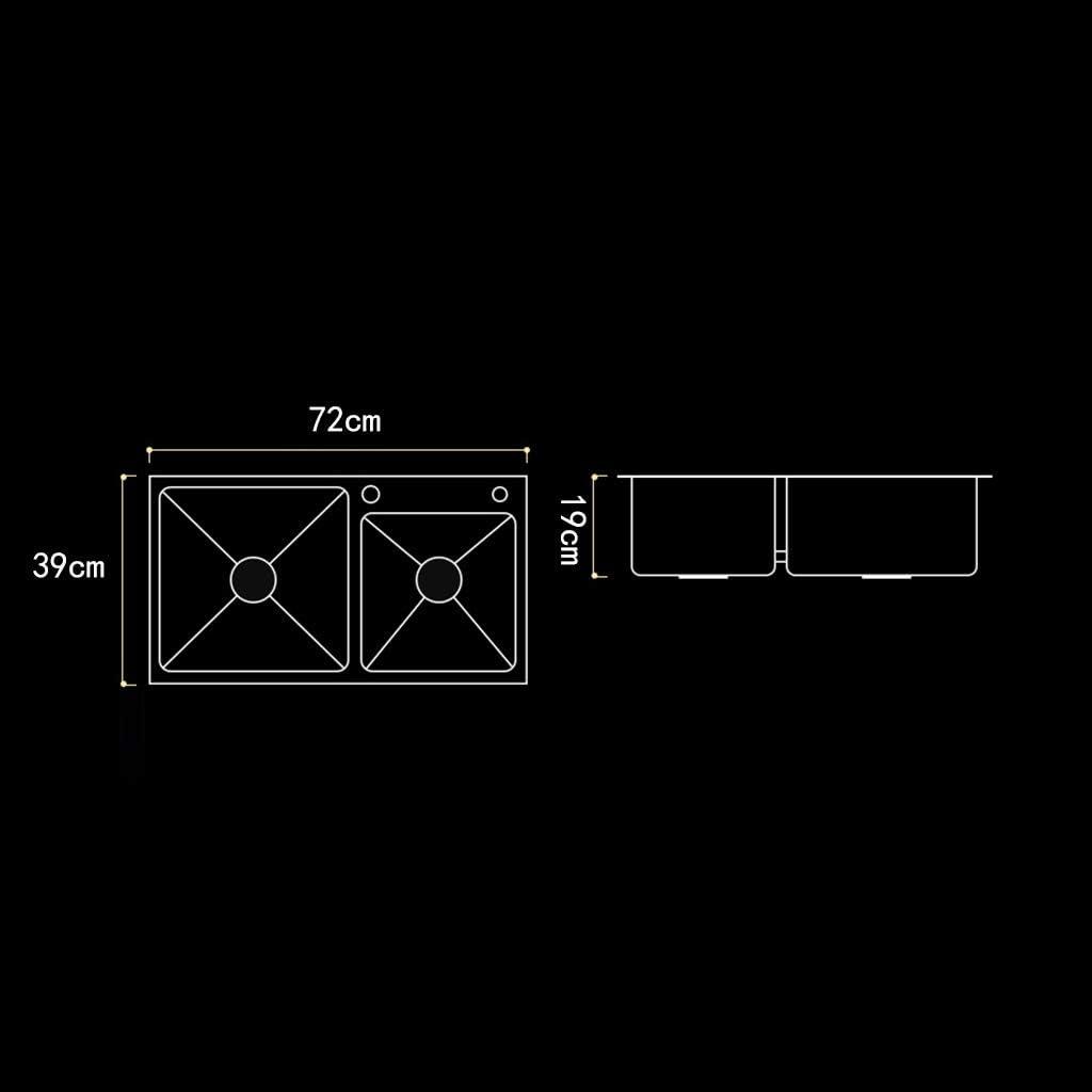 Fregaderos de dos senos Lavar los platos hogar lavabo doble lavabo fregadero de la cocina balc/ón piscina de lavander/ía bandeja de desag/üe de la cocina Fregaderos Color : Silver , Size : 72*39*19cm