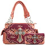 Justin West Women's Concealed Carry Angel Wings Cross Faith Hope Love Western Handbag Tote Purse (Coral Red Handbag Wallet Set)