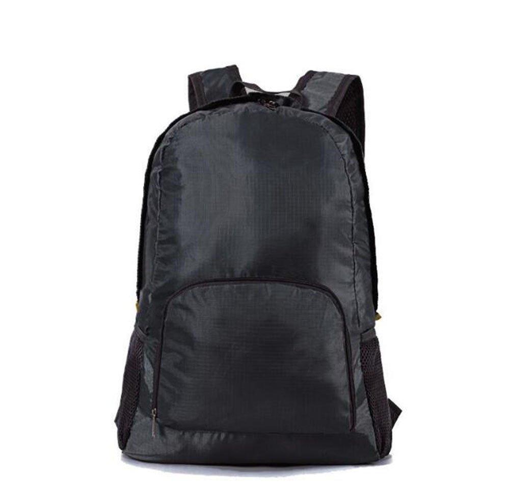 ファッション学生旅行バックパックアウトドアレジャーショルダーバッグ防水折りたたみバックパック  ブラック B07BMDKC84