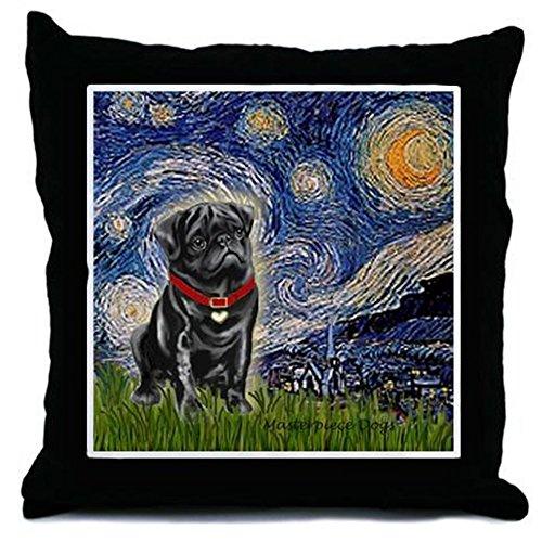 "CafePress Starry Night/Black Pug Decor Throw Pillow (18""x18"")"