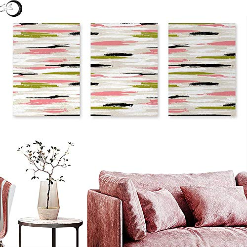 (J Chief Sky Art Canvas Prints Wall Art Bold Pattern with Thick Brushstrokes and Stripes Hand Painted Boho Print Triptych Art Coral Black Olive Green W 12