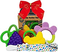 Ike & Leo Teething Toys: Baby Infant and Toddler WITH Pacifier Clip / Teether Holder, Best for Sore Gums Pain Relief, Eco Friendly BPA Free & Freezer Safe, Set of 4 Silicone Teethers by Ike & Leo