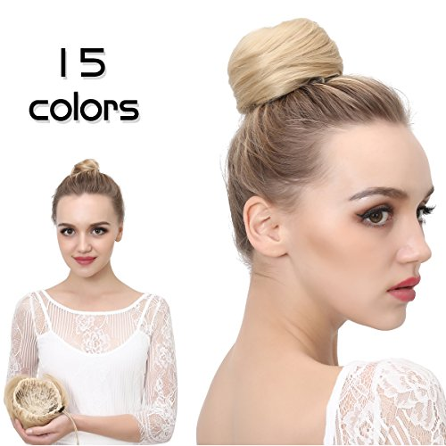 Bun Hair Extension (SARLA Donut Chignon Bun Straight Updo Hair Bun Hairpieces Synthetic Scrunchie Hair Bun Extensions Q3 (2# Natural Black))