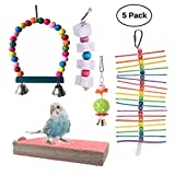 Vehomy 5pcs Parrot Toys Bird Beak Grinding Stone Bird Chewing Toy Bird Hanging Bell Bird Perch Pet Bird Cage Hammock Swing for Parakeets, Cockatiels, Conures, Macaws, Lovebirds, Finches