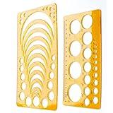 YEJI Set of 2 Plastic Orange Color Circle Radius Arc Master Stencil Circle Geometric Drawing Measuring Template Stencil Ruler